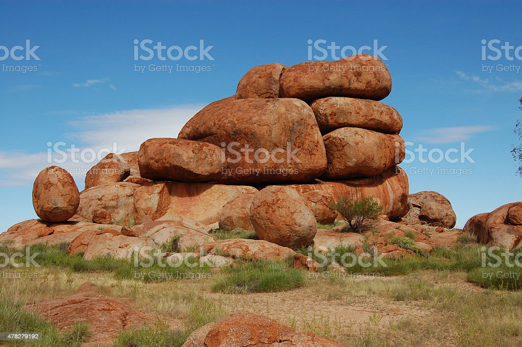 Red stones at outback Australia stock photo