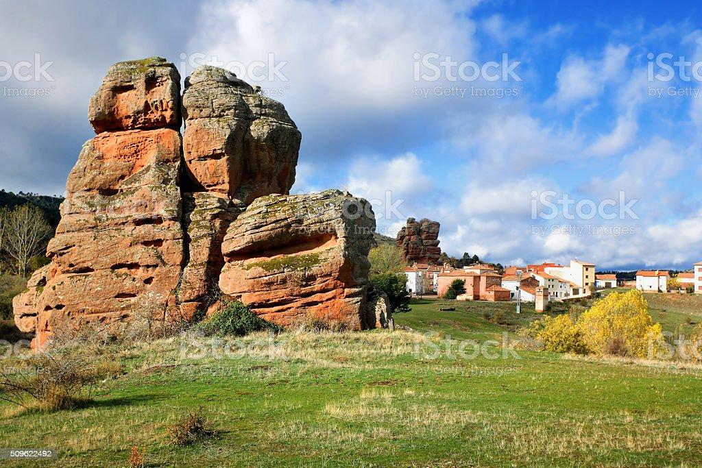 Red stones near Chequilla and Checa in autumn. Guadalajara, Spai stock photo