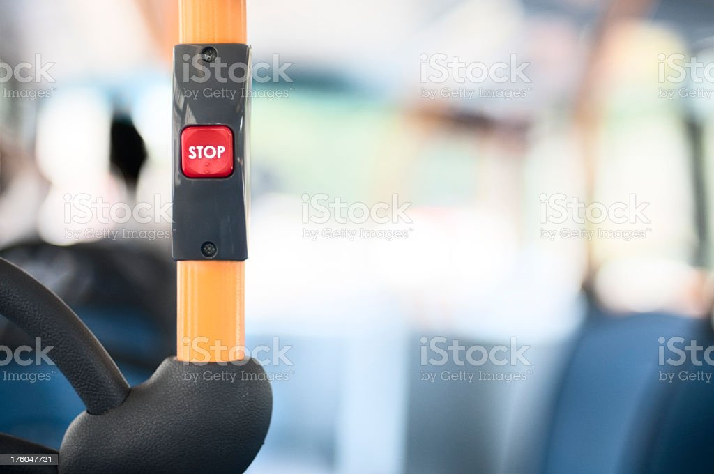 Red stop button in a factory setting royalty-free stock photo