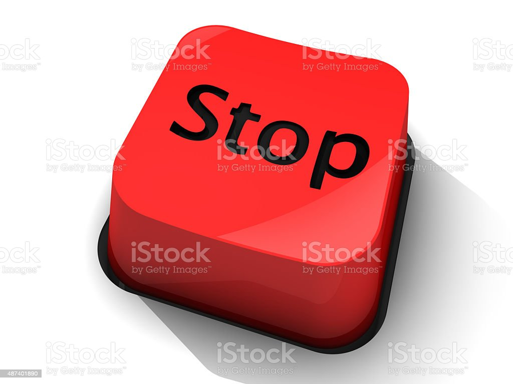 Red Stop Button stock photo