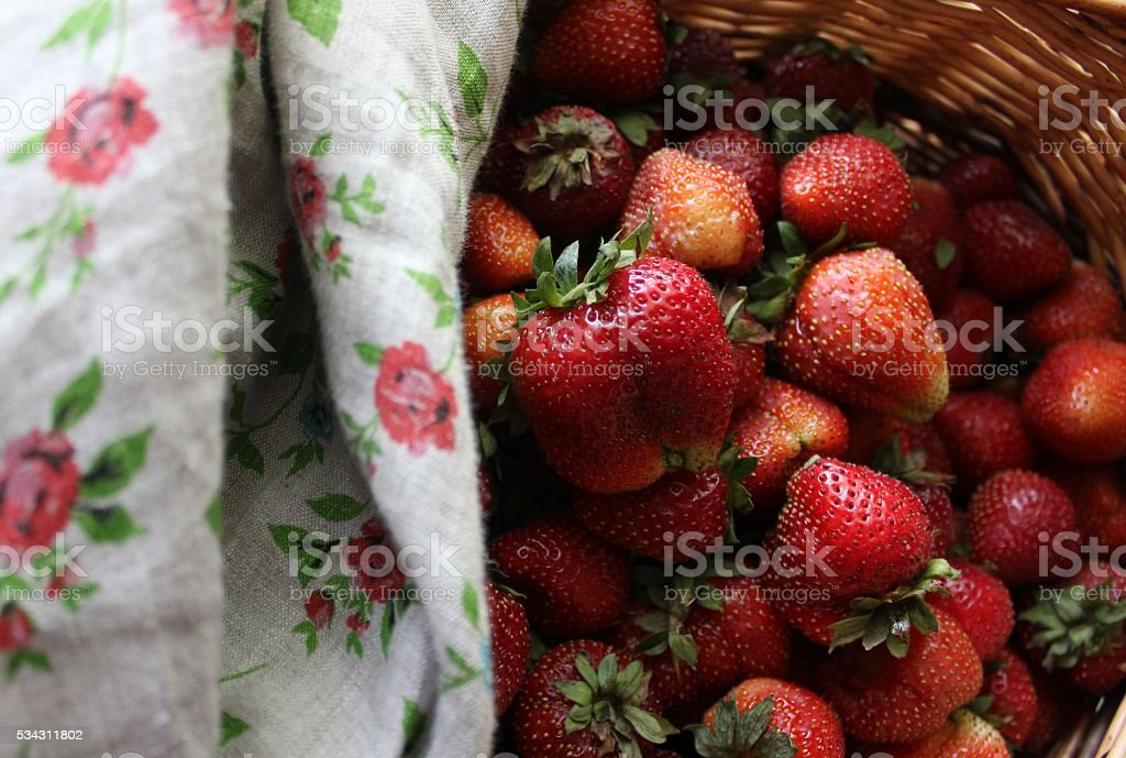 Red strawberries covered with linen cloth stock photo