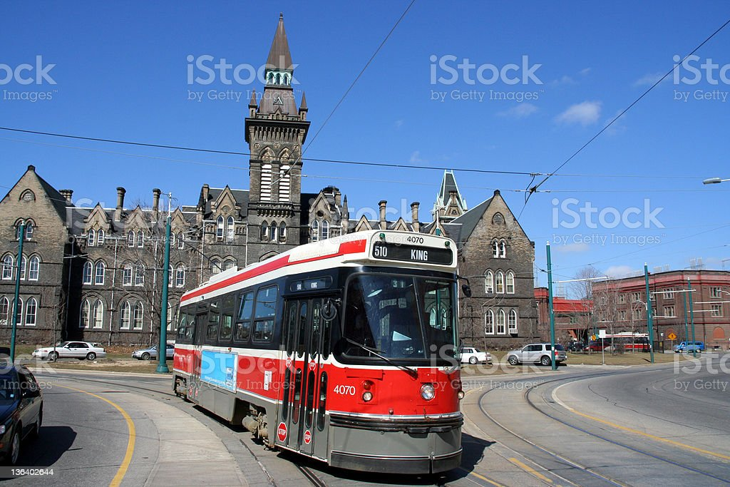 A red street tram in Toronto, Canada stock photo