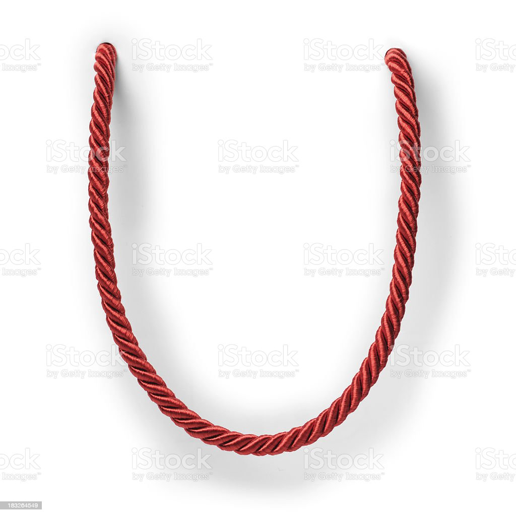 Red string on white background stock photo
