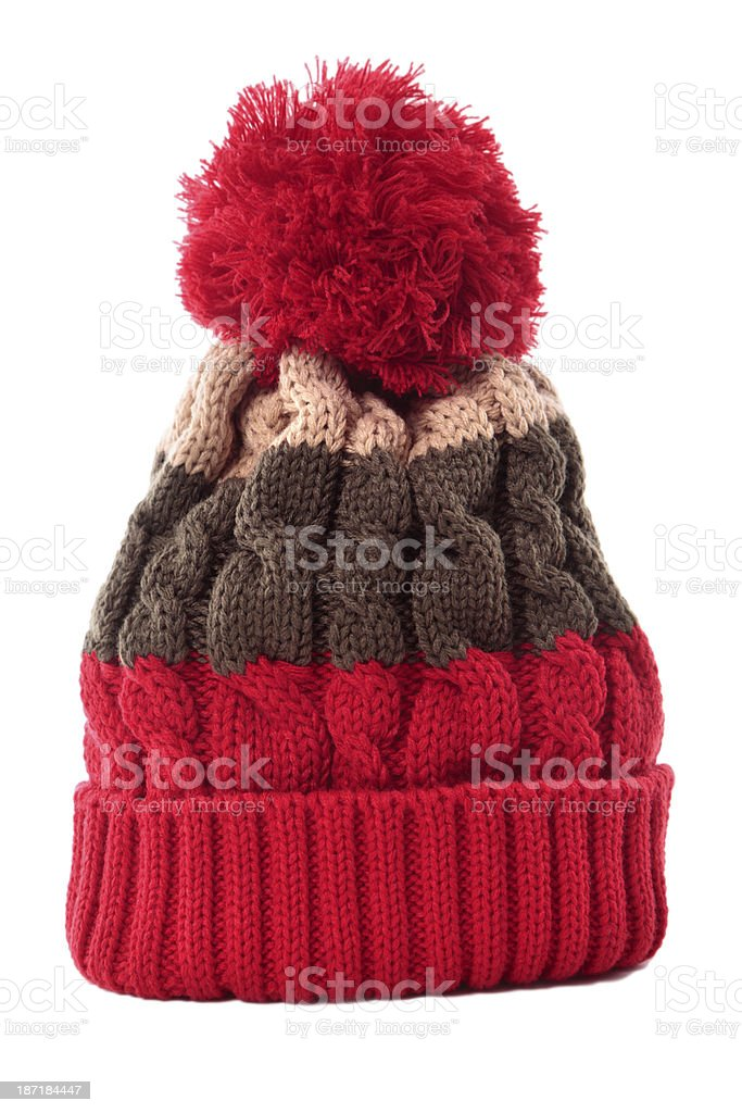 Red striped bobble hat stock photo