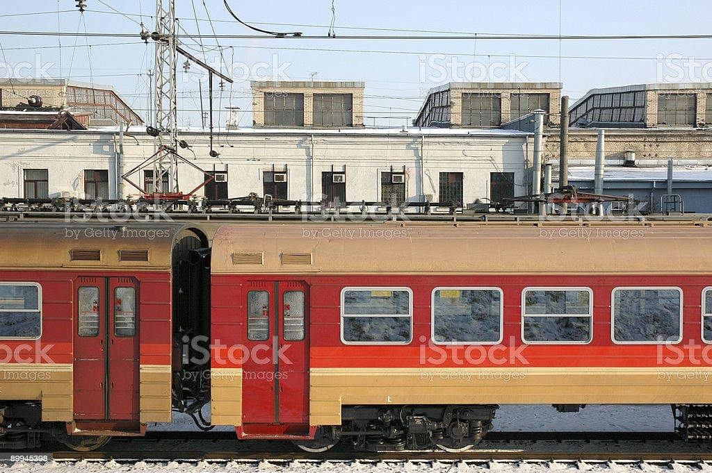 Rayure rouge Train de voyageurs photo libre de droits
