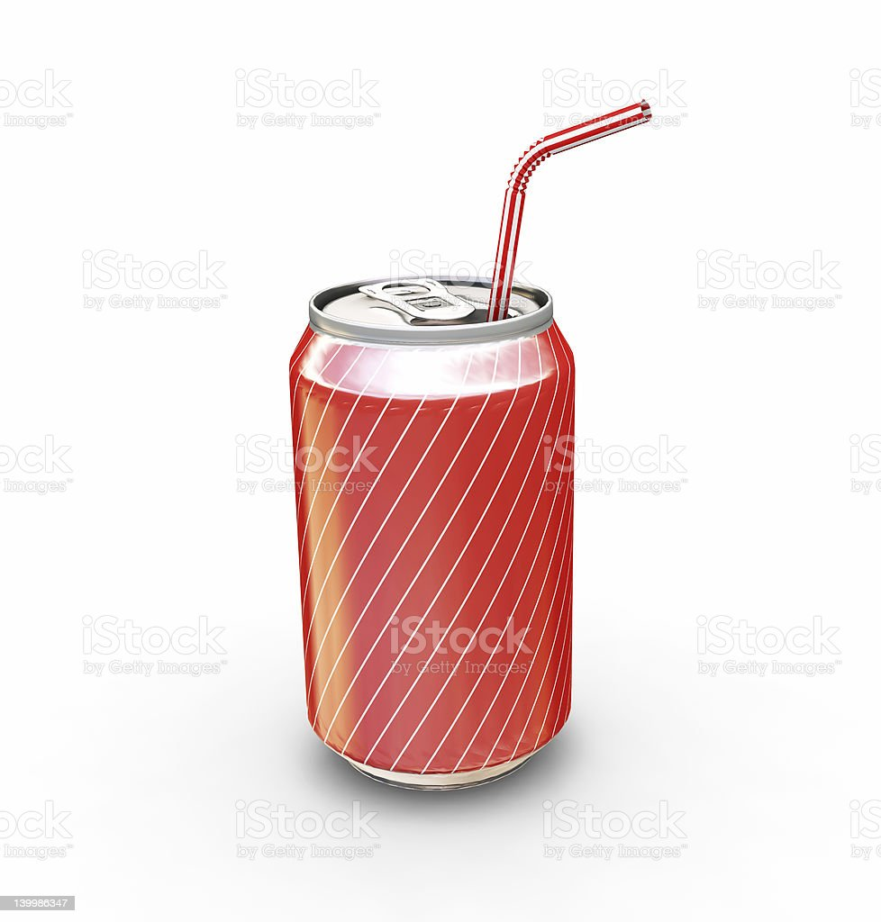 Red striped soda can with straw on white background royalty-free stock photo