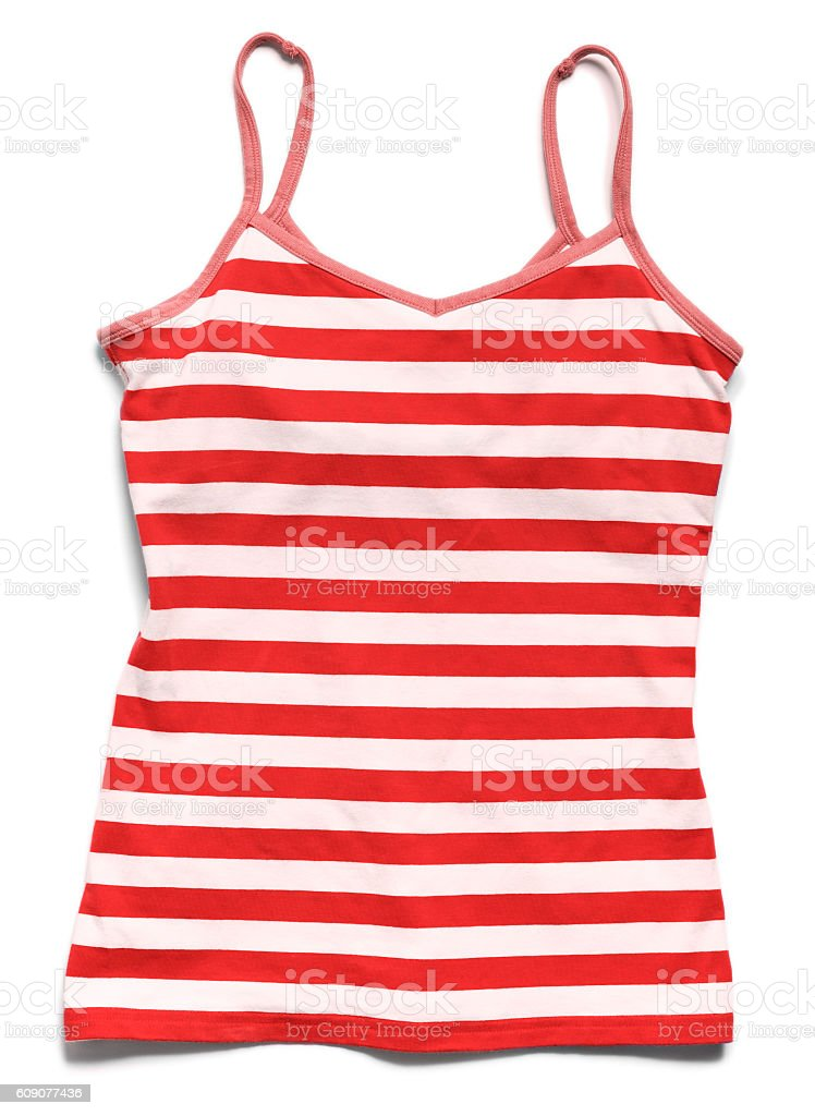 Red striped tank top shirt on white stock photo