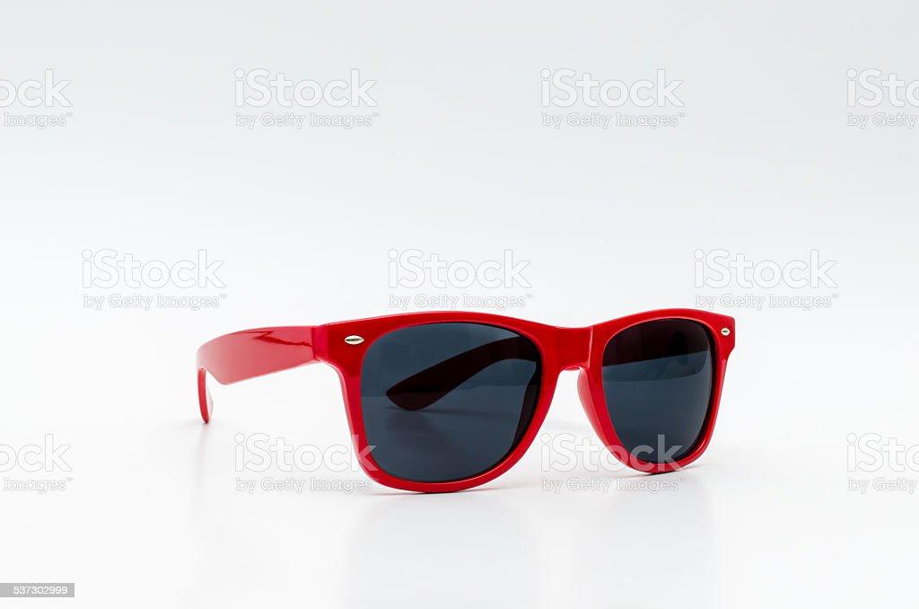 Red stylish sunglasses stock photo