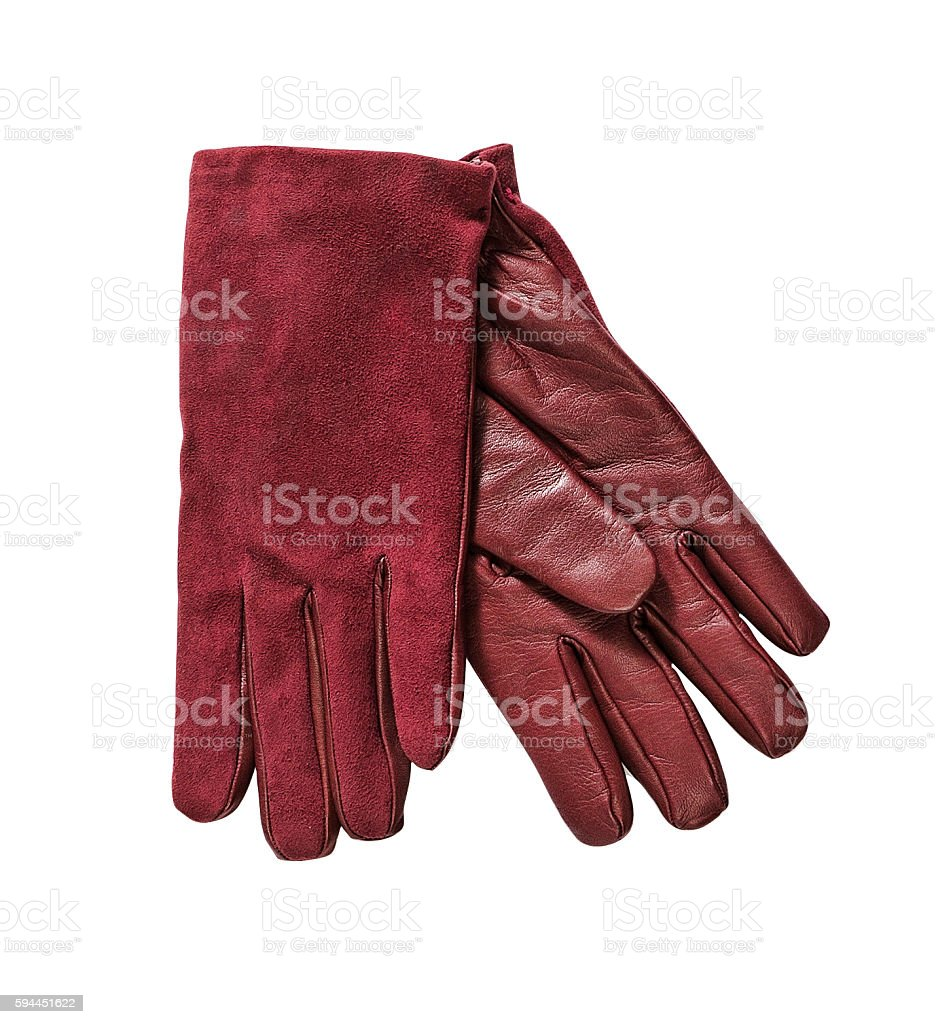red suede gloves stock photo