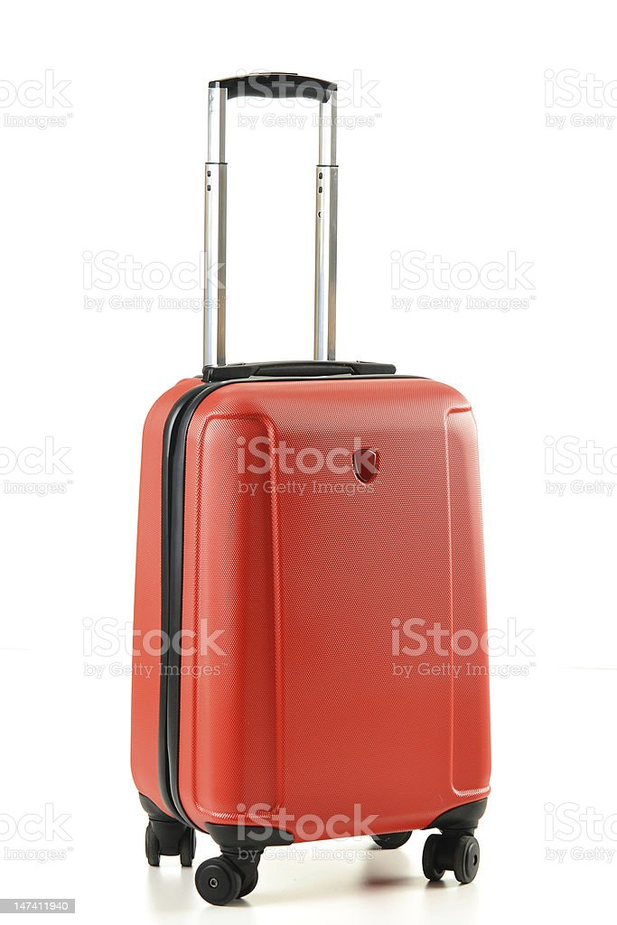 Red suitcase isolated on white stock photo