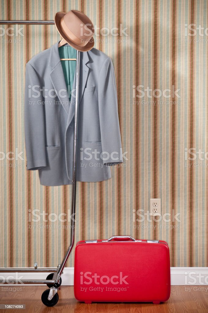 Red Suitcase With Coat And Hat royalty-free stock photo