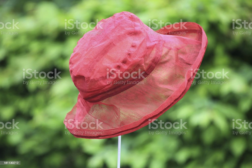 Red summer hat for women stock photo