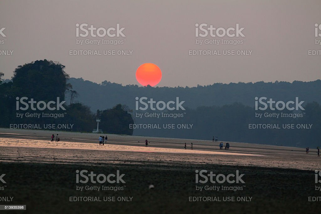 Red sun and sunset stock photo