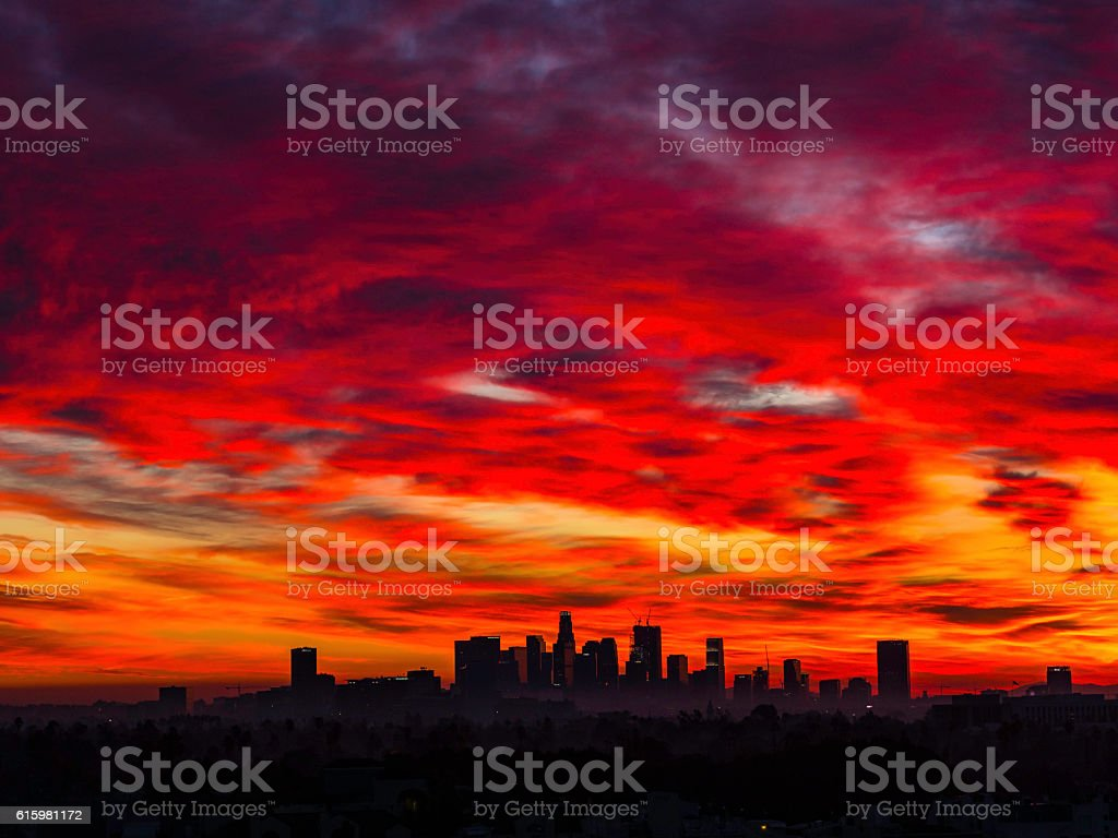 Red Sunrise Los Angeles stock photo