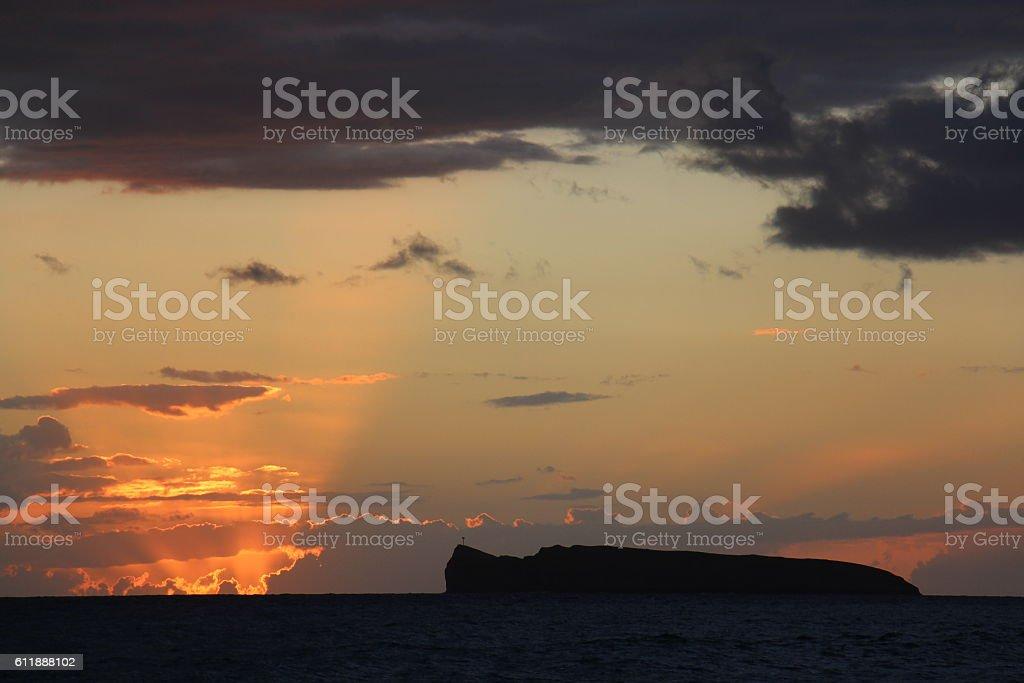 Red sunset at Molokini, Hawaii stock photo