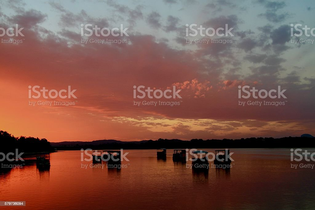 Red Sunset- Dusk Noosa River stock photo