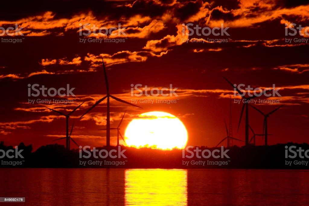 Red Sunset & Green Power stock photo