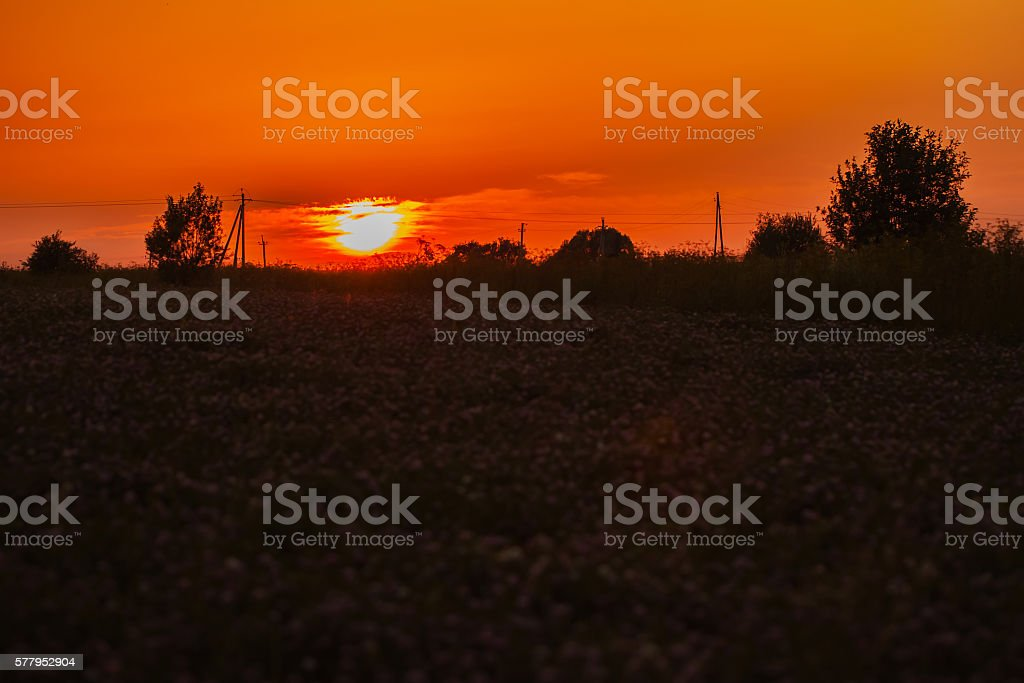 Red sunset in cloudy day in the village stock photo
