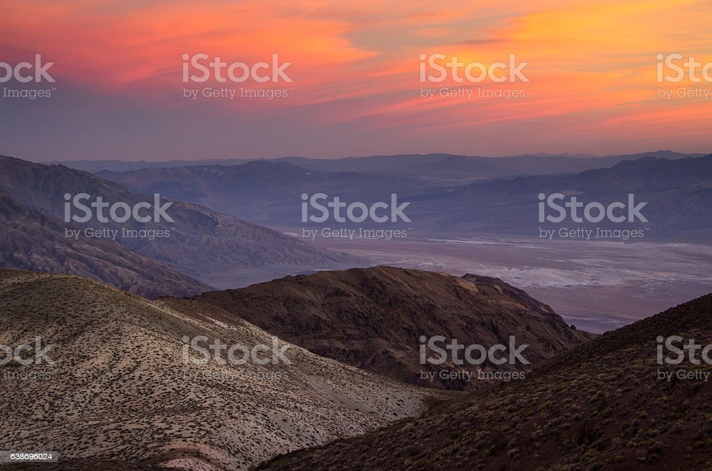 Red Sunset in Death Valley stock photo