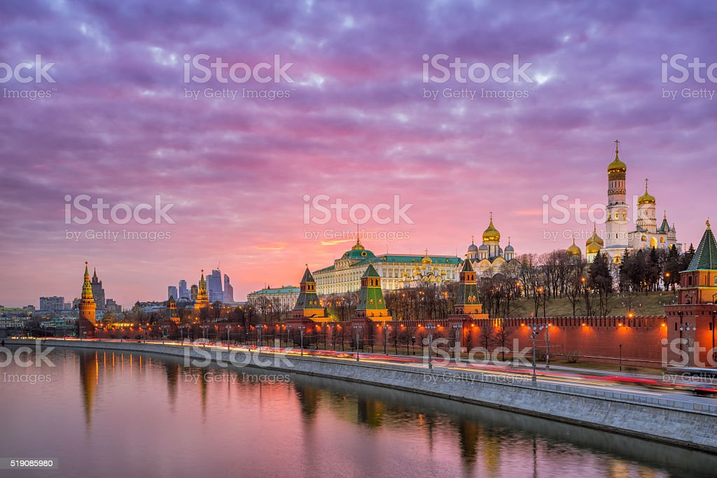 Red sunset over the Moscow Kremlin stock photo