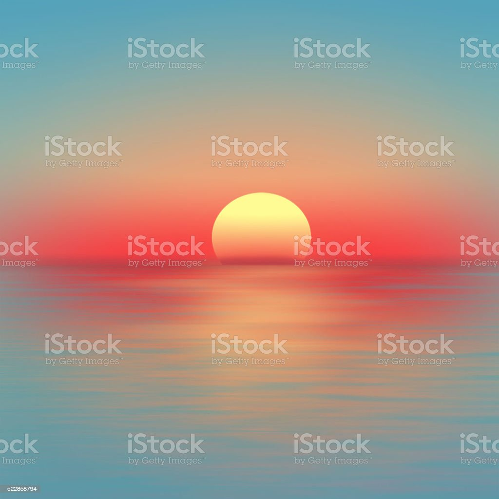 Red sunset over the sea stock photo