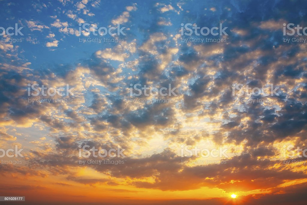 Red sunset, sunrise, sun, clouds royalty-free stock photo