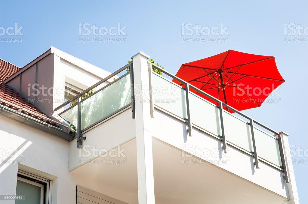 red sunshade stock photo