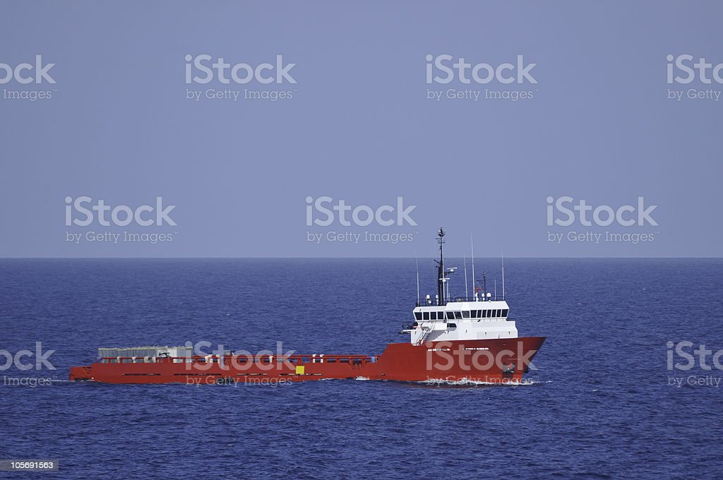 Red Supply Vessel Offshore stock photo