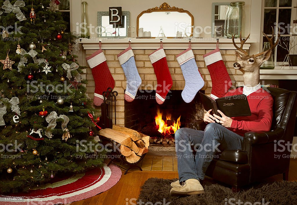 Red Sweater Reindeer Man in Christmas Living Room stock photo