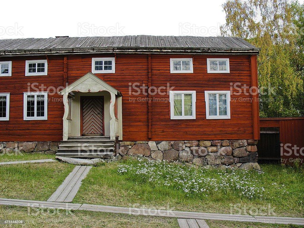 Red swedish cabin royalty-free stock photo