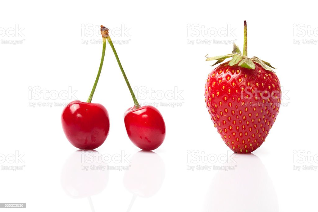 Red sweet cherry and Strawberry stock photo