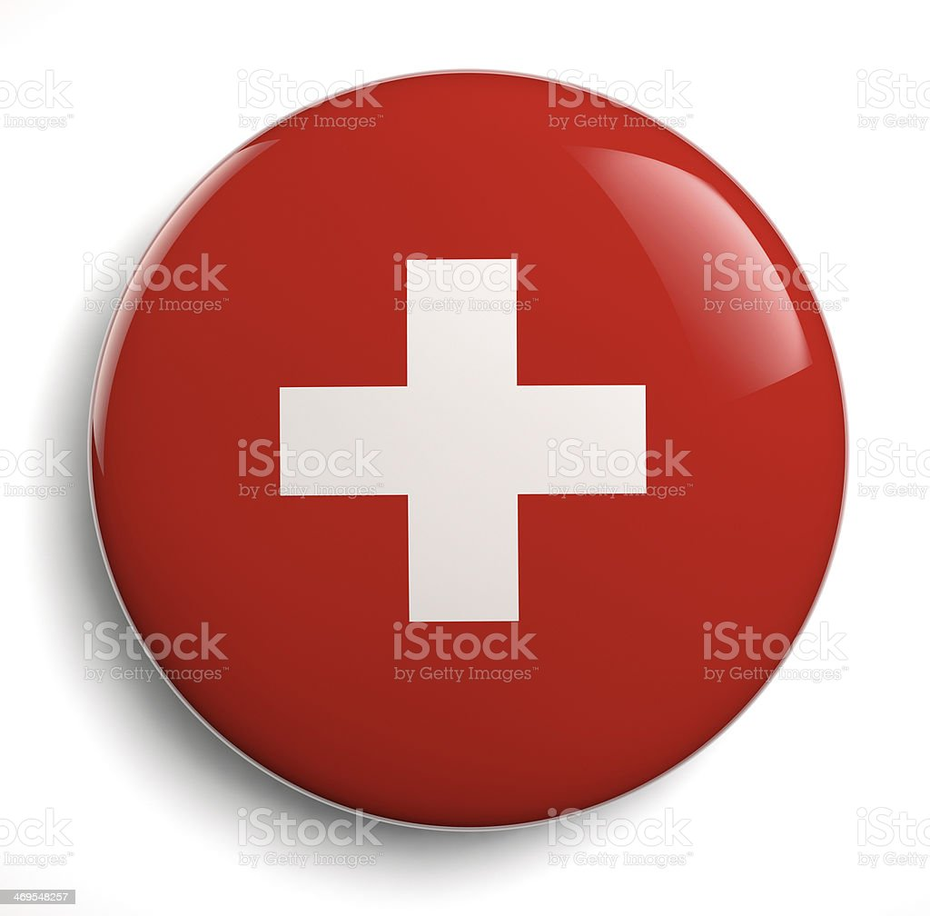 Red Swiss Flag White Cross stock photo