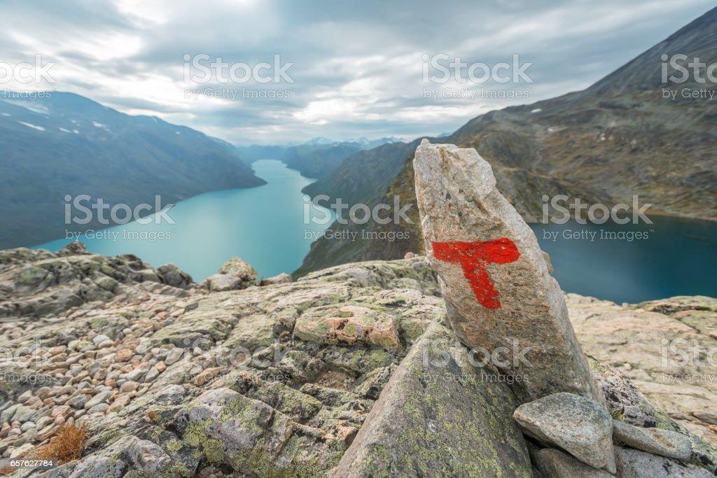 Red T at Besseggen Jotunheimen park Norway stock photo