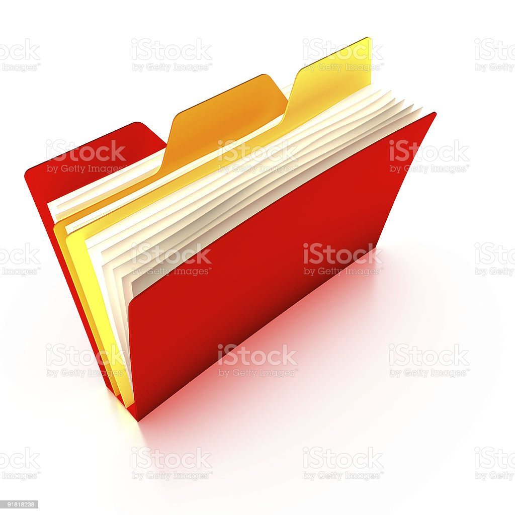 Red tabbed folder stock photo