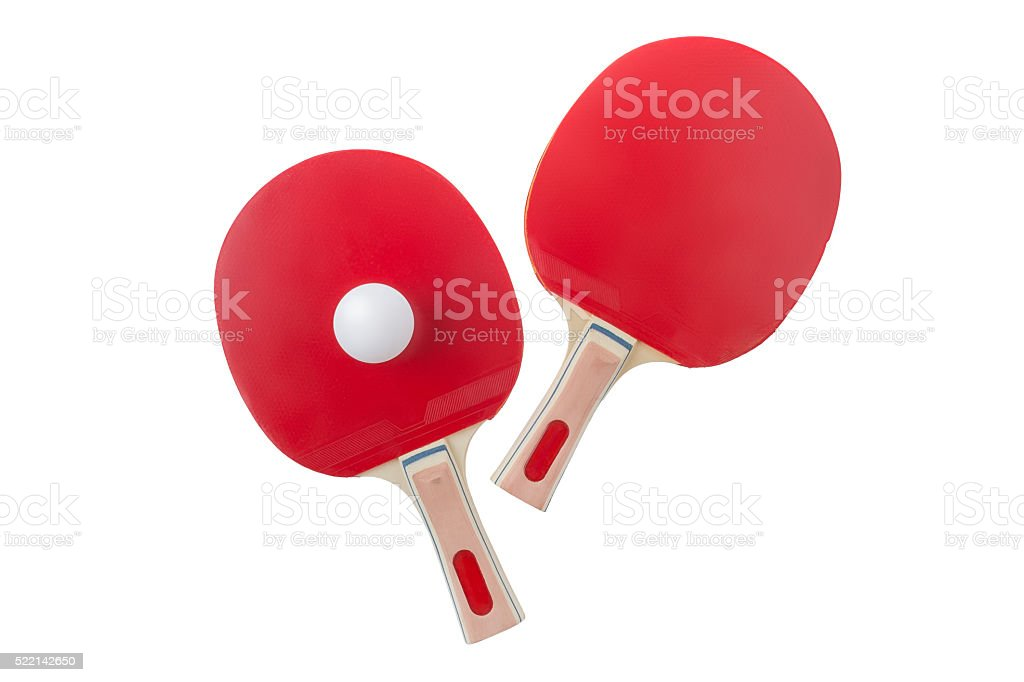 Red table tennis rackets stock photo