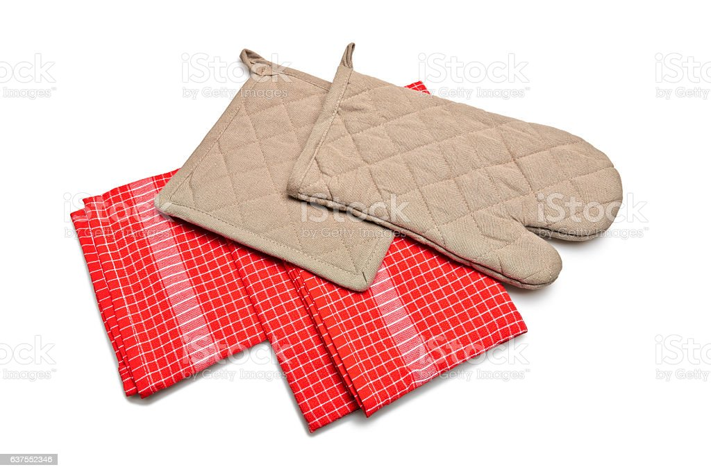 Red Tablecloth made of linen and brown gloves stock photo