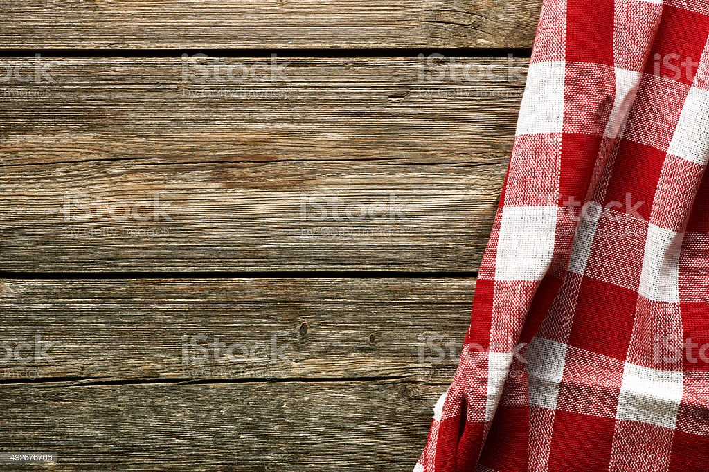 Red tablecloth stock photo
