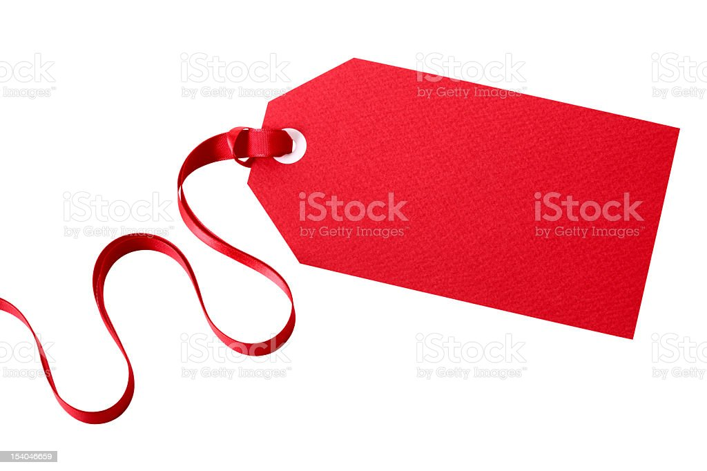 A red tag attached to a red ribbon stock photo
