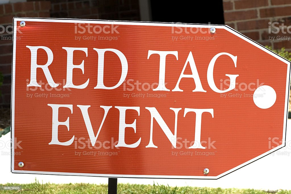 red tag event sign royalty-free stock photo