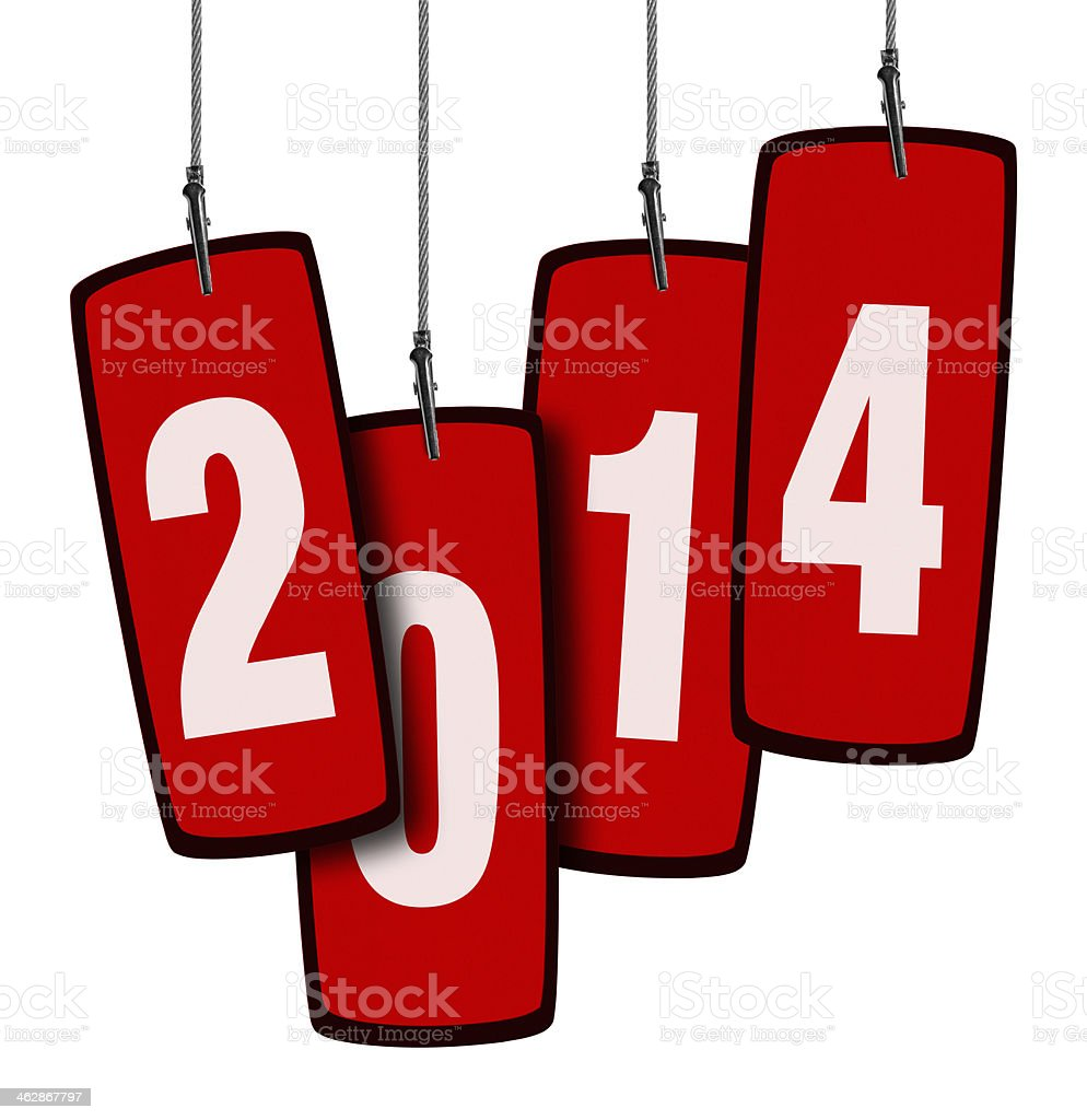 2014 Red Tag in Wire Clamp 4 (Clipping Path) stock photo