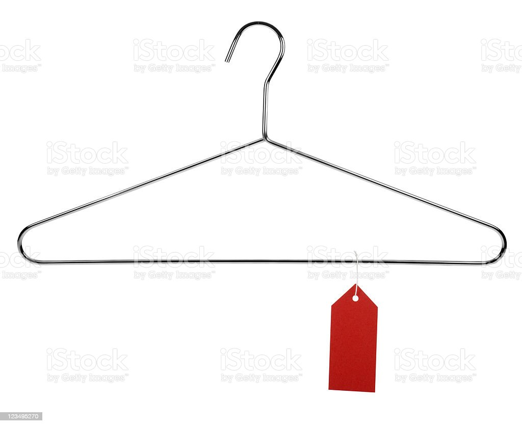 red tag sale on coat hanger stock photo