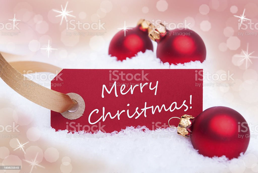 Red Tag With Merry Christmas royalty-free stock photo
