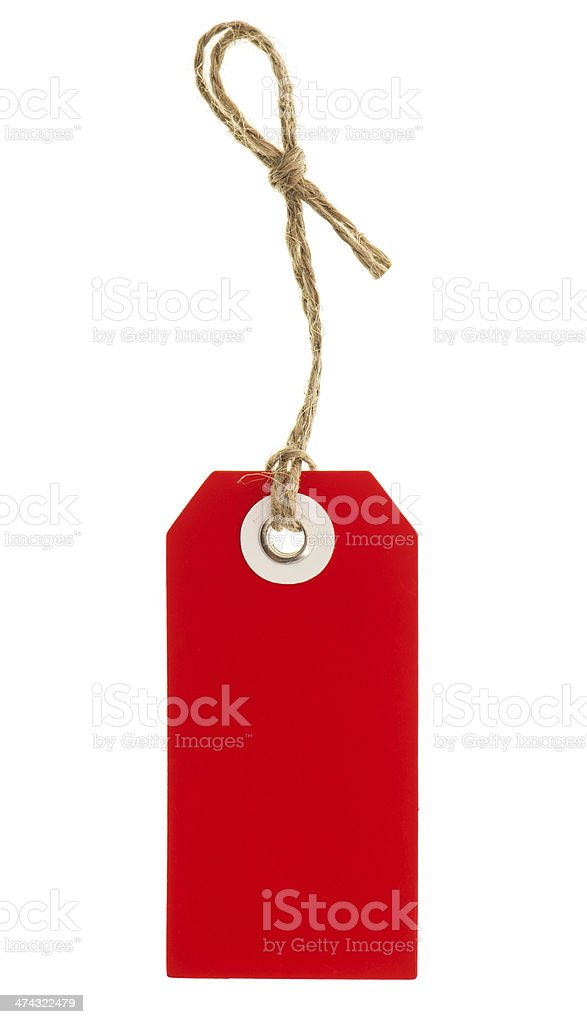 red tag with string isolated on white stock photo