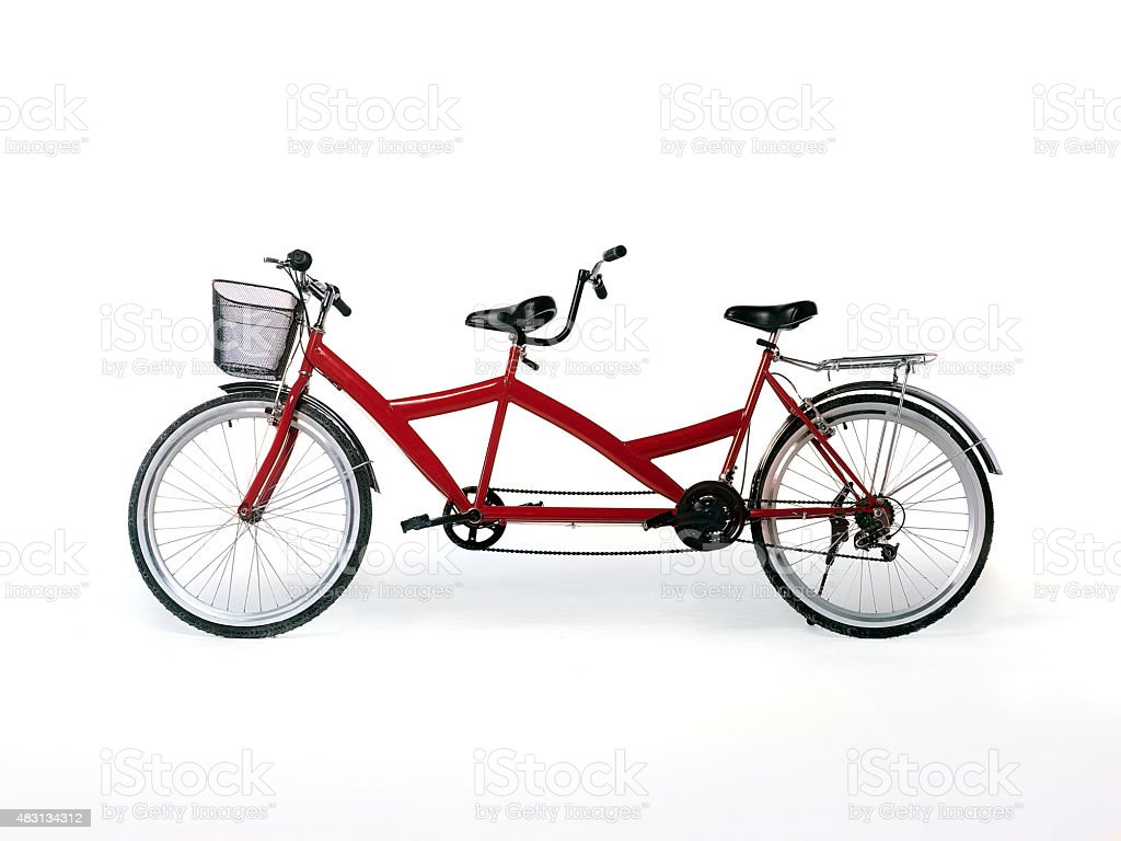 red tandem bicycle stock photo