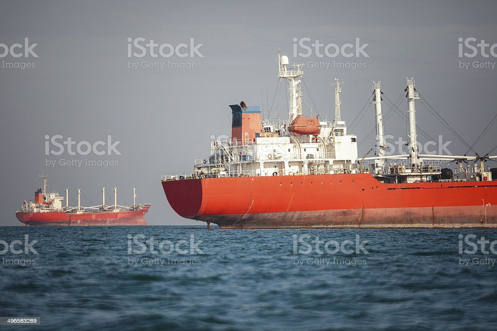 Red tanker stock photo