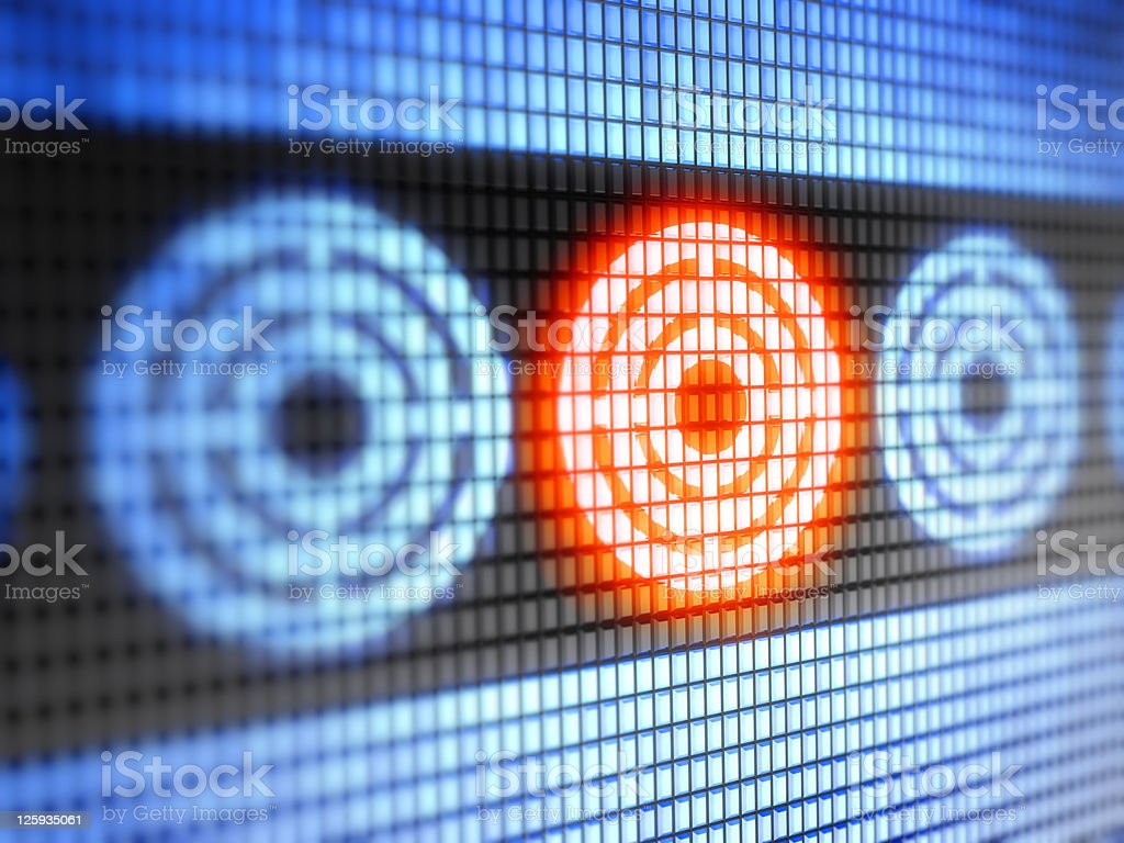 A red target mark on an electronic screen stock photo