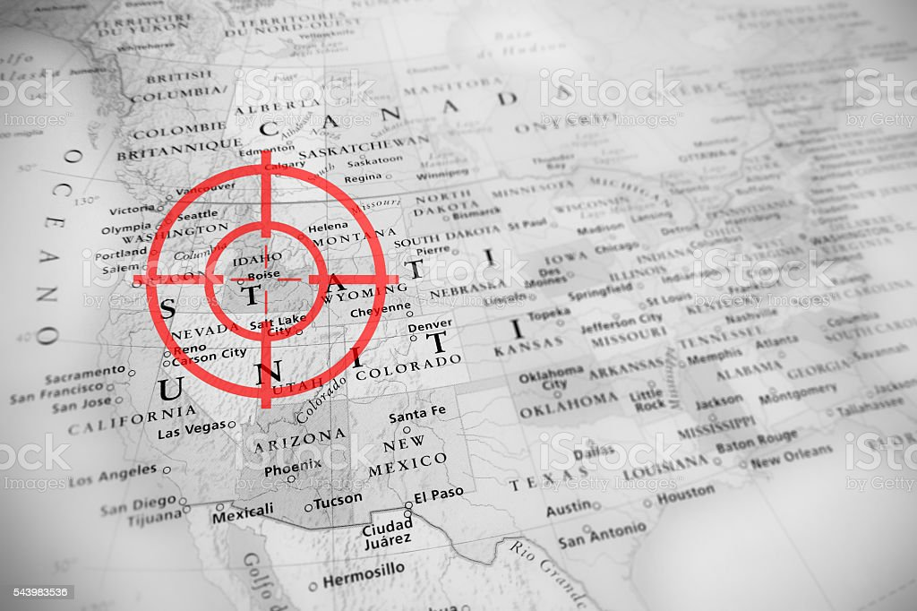 Red target on tilted United States map ( Idaho ) stock photo