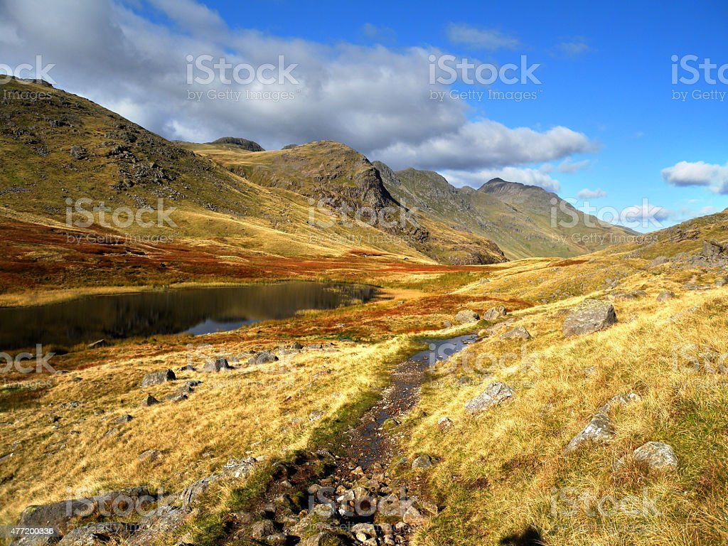 Red Tarn and Crinkle Crags stock photo