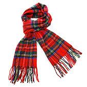 Red tartan wool winter scarf