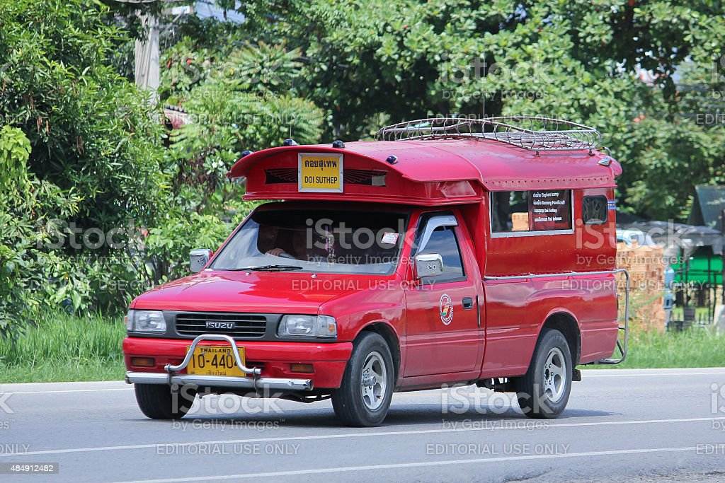 Red taxi chiangmai stock photo